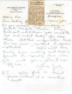 Thumbnail of Letter from John Michael Xifaras to Gloria Xifaras Clark