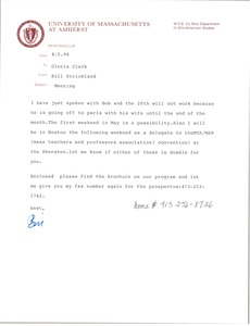 Thumbnail of Letter from Bill Strickland to Gloria Xifaras Clark