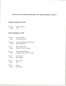 Thumbnail of Itinerary for North Mississippi Civil Rights Project Group