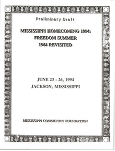 Thumbnail of Mississippi Homecomeing: 1994 Program and Schedule: Preliminary Draft