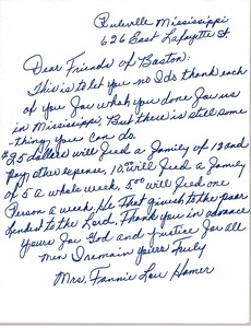 Thumbnail of Letter from Fannie Lou Hamer to Civil Rights Workers