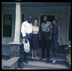 Thumbnail of Wayne Yancey, Karin Kunstler, Charles T. Scales, and Barbara Walker (l. to r.) on porch of             Freedom House