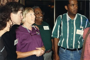 Thumbnail of Gloria Xifaras Clark, Larry Rubin, Marjorie Merrill, Hardy T. Frye, and             Cleveland Sellers at Mississippi Homecoming Reunion