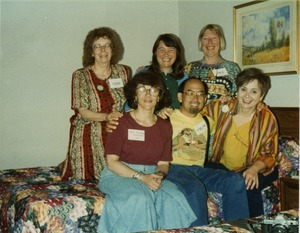 Thumbnail of Kathy Dahl, Chude Pamela Allen, Marjorie Merrill (top row, l. to r.), Karen             Kunstler, Carl Young, Aviva Futorian (bottom row, l. to r.) at Mississippi Homecoming Reunion
