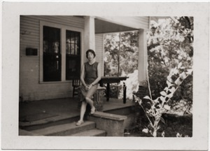 Thumbnail of Marjorie Merrill on the front steps of the Freedom House