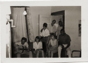 Thumbnail of Civil rights workers inside Freedom House, including Gloria Xifaras Clark             (standing left), Kathy Dahl (seated, 2d from the right), and U.Z. Nunnally (seated far right)
