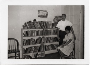Thumbnail of Unidentified civil rights workers in the library of Freedom House