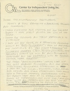 Thumbnail of Letter from unidentified correspondent to teleconference participants