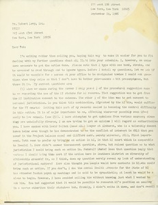 Thumbnail of Letter from Cynthia Miller to Robert Levy