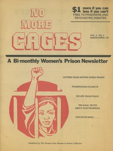 Thumbnail of No more cages A Bi-monthly women's prison newsletter vol. 3 no. 3 March/April