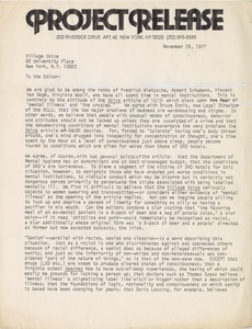 Thumbnail of Letter from Project Release to the Village Voice