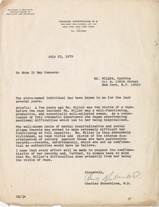 Thumbnail of Letter from Charles Rosenbloom, M.D. to whom it may concern