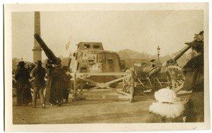 Thumbnail of German tank (A7V 'Wotan') and artillery pieces