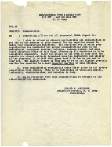 Thumbnail of Memorandum from United States Army to Commanding Officer and 326th Signal Company