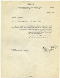 Thumbnail of Memorandum from 326th Signal Company Wing to 67th Fighter Wing