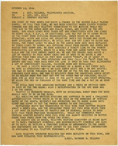 Thumbnail of Memorandum from Raymond B. Zellmer to 1st Sergeant Kelly