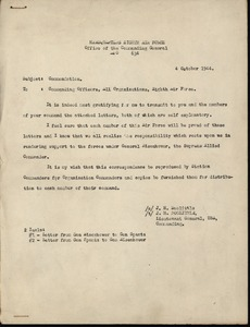 Thumbnail of Memorandum from Headquarters Eighth Air Force