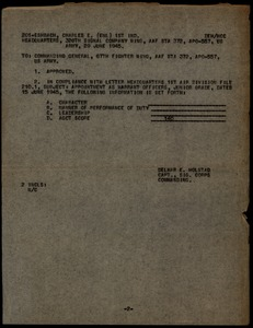 Thumbnail of Memorandum from United States Army Air Forces to Commanding General, 67th Fighter Wing