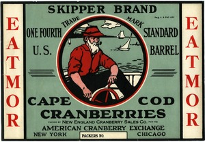 Thumbnail of Eatmor Cape Cod Cranberries : Skipper Brand One fourth U.S. standard cranberry barrel crate label