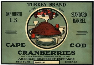 Thumbnail of Eatmor Cape Cod Cranberries : Turkey Brand One fourth U.S. standard cranberry barrel crate label