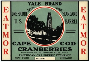 Thumbnail of Eatmor Cape Cod Cranberries : Yale Brand One fourth U.S. standard cranberry barrel crate label