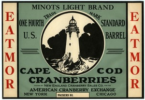 Thumbnail of Cape Cod Cranberries : Minots Light Brand One fourth U.S. standard cranberry barrel crate label