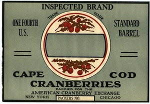 Thumbnail of Cape Cod Cranberries : Inspected Brand One fourth U.S. standard cranberry barrel crate label