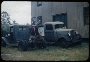Thumbnail of Old bog trucks behind the screen house, Duxbury Cranberry Company