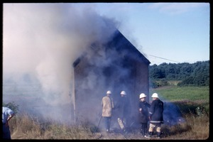 Thumbnail of Preparing to burn shanties, Duxbury Cranberry Company, Fire Department