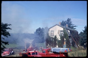 Thumbnail of Preparing to burn Sam's house, Duxbury Cranberry Company, Fire Department