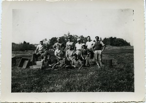 Thumbnail of Duxbury Cranberry Company: German prisoners of war from Camp Edwards (Cape Cod)             harvesting cranberries, posed with hand scoops and crates