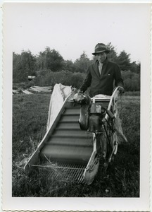 Thumbnail of Duxbury Cranberry Company: unidentified worker with Western mechanical picker