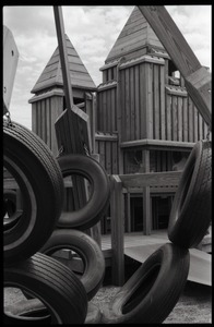 Thumbnail of Playground equipment: tires and wooden platform