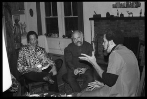 Thumbnail of Michael Thelwell (right) speaking with Robert H. Abel and Johnnetta Cole, at the book party for Robert H. Abel
