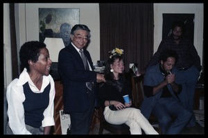 Thumbnail of Left to right: Esther Terry, Hui-Ming Wang, unidentified woman, Michael             Thelwell, and Richard Hall at the book party for Robert H. Abel