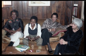 Thumbnail of Women seated on the couch, at the book party for Robert H. Abel Includes (r. to l.) Meline Kasparian, Johnnetta Cole, Esther Terry, and             unidentified woman