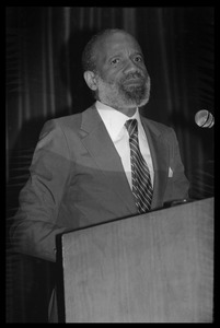 Thumbnail of Speaker at the podium for James Baldwin's birthday celebration