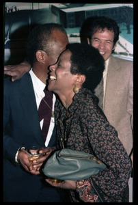 Thumbnail of James Baldwin hugging Esther Terry at his 60th birthday celebration, UMass             Campus Center