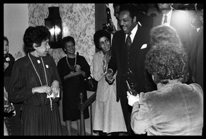 Thumbnail of Jesse Jackson greeting supporters as he enters the room Reception for presidential candidate Jesse Jackson at the Lord Jeffery Inn