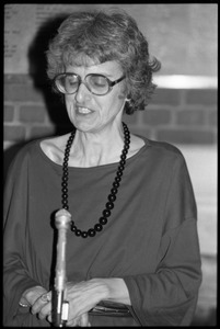 Thumbnail of Catherine R. Stimpson, speaking in Memorial Hall at the 10th anniversary celebrations of Women's             Studies at UMass Amherst
