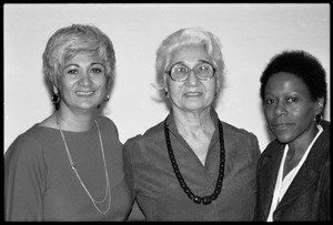 Thumbnail of Meline Kasparian (President, Mass. Teachers Association), Arev Kasparian (her             mother), and Esther Terry at Frances Crowe's party