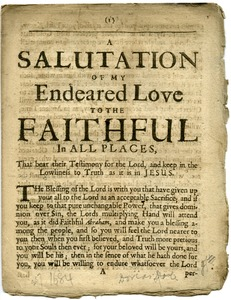 Thumbnail of A  salutation of my endeared love to the faithful in all places : that bear their             testimony for the Lord and keep in the lowliness of truth as it is in Jesus