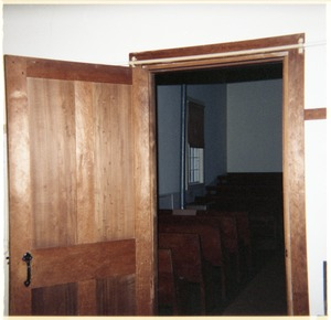 Thumbnail of Meetinghouse interior, North Dartmouth Monthly Meeting View through the door into the meeting room
