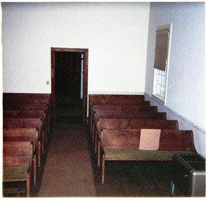 Thumbnail of Meetinghouse interior, North Dartmouth Monthly Meeting View of benches from the elders' benches at the front of the room