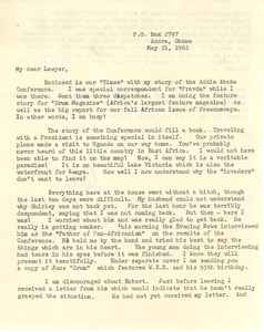 Thumbnail of Letter from Shirley Graham Du Bois to Bernard Jaffe