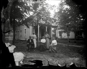 Thumbnail of Cottage and residents, Lake Pleasant Group posed in front of their cottage