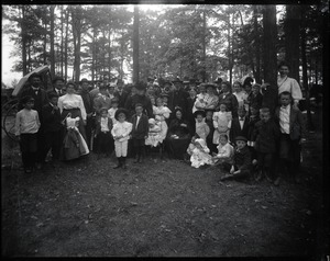 Thumbnail of Picnicking at Lake Pleasant Large group posed in the woods