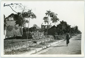 Thumbnail of Ruined buildings, man on bike