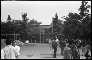 Thumbnail of Protesters in playground at conclusion of downtown Tokyo antiwar demonstration
