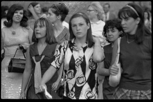 Thumbnail of Beatles concert at Shea Stadium: close-up of Beatles fans, all girls, milling about the venue